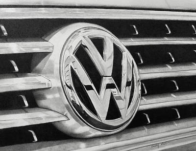 Drawing - Volkswagon  Grill Emblem by Becky West