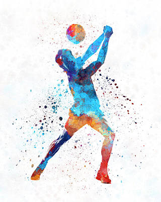 Volley Ball Player Man 01 In Watercolor Art Print by Pablo Romero