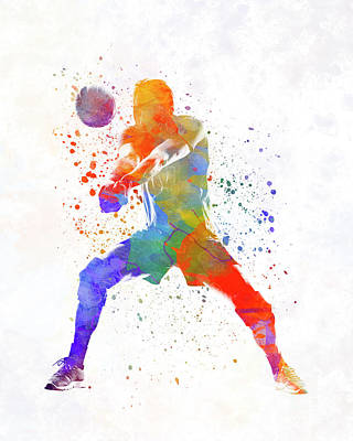 Volley Ball Player Man 02 In Watercolor Art Print by Pablo Romero