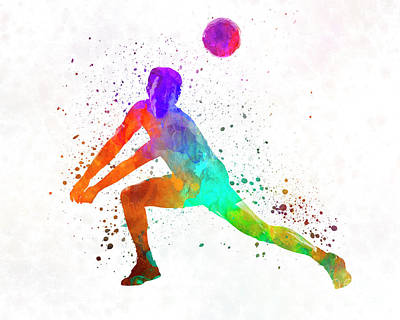Volley Ball Player Man 03 In Watercolor Art Print by Pablo Romero