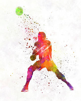 Volley Ball Player Man 04 In Watercolor Art Print by Pablo Romero