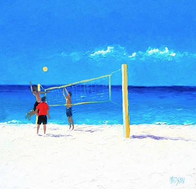 Beach Scene Painting - Volleyball Beach Painting by Jan Matson