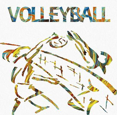 Athletic Mixed Media - Volleyball Paint Poster by Dan Sproul
