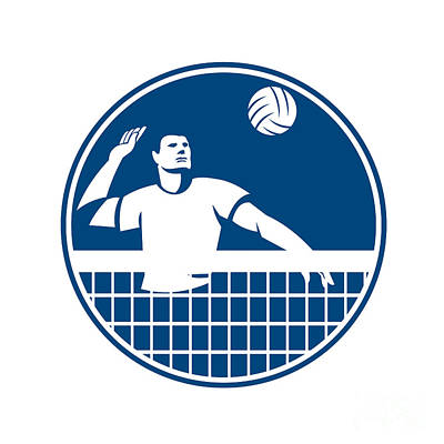 Iconography Digital Art - Volleyball Player Spiking Ball Circle Icon by Aloysius Patrimonio