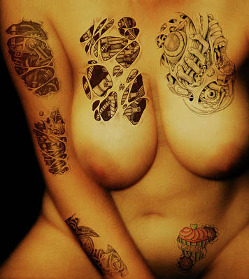 Digital Art - Voluptuous Tattooed  by James Barnes