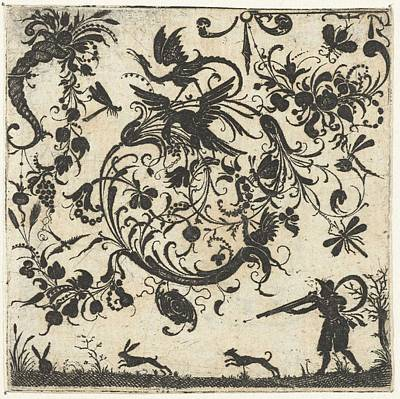 Personalized Name License Plates - Volute with birds and insects, Esaias of Hulsen, 1580 - 1626 by Esaias of Hulsen