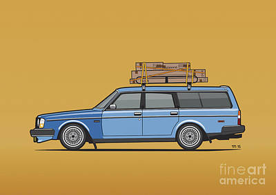 Volvo 245 Brick Wagon 200 Series Blue Shopping Wagon Art Print by Monkey Crisis On Mars