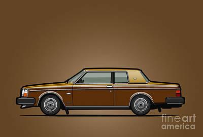 Sweden Digital Art - Volvo 262c Bertone Brick Coupe 200 Series Gold-bronze  by Monkey Crisis On Mars