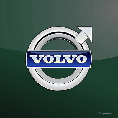 Digital Art - Volvo 3d Badge Special Edition On Bottle Green by Serge Averbukh