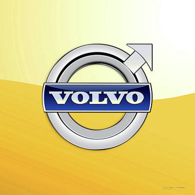 Digital Art - Volvo 3d Badge Special Edition On Yellow by Serge Averbukh