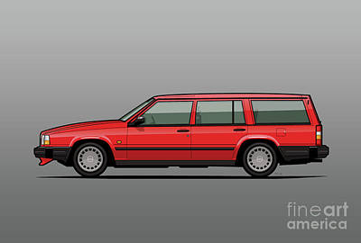 80s Cars Digital Art - Volvo 740 745 Classic Red by Monkey Crisis On Mars