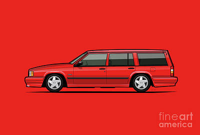 80s Cars Digital Art - Volvo 740 745 Se Turbo Classic Red by Monkey Crisis On Mars