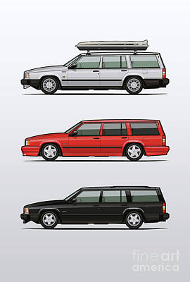 Automotive Art Series Digital Art - Volvo 740 745 Turbo Wagon Trio by Monkey Crisis On Mars