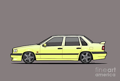 Apparel Digital Art - Volvo 850r 854r T5-r Creme Yellow by Monkey Crisis On Mars