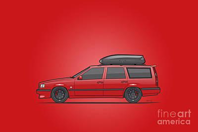 Volvo 850r 855r T5-r Swedish Turbo Wagon Red Art Print by Monkey Crisis On Mars