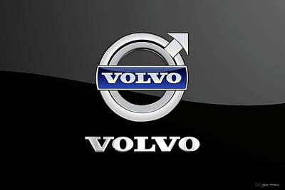 Digital Art - Volvo Badge - Luxury Edition On Black by Serge Averbukh