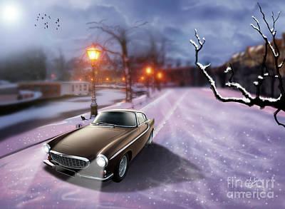 Volvo P1800 Snow Scene Art Print by Linton Hart