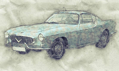 Mixed Media - Volvo P1800 - Sports Car 1 - Automotive Art - Car Posters by Studio Grafiikka