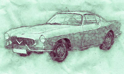 Royalty-Free and Rights-Managed Images - Volvo P1800 - Sports Car 3 - Automotive Art - Car Posters by Studio Grafiikka