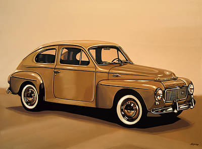 Acryl Painting - Volvo Pv 544 1958 Painting by Paul Meijering