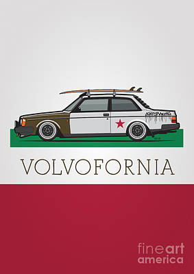 Volvofornia Slammed Volvo 242 240 Coupe California Style Art Print by Monkey Crisis On Mars
