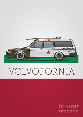 Volvofornia Slammed Volvo 245 240 Wagon California Style Art Print by Monkey Crisis On Mars