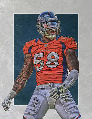 Von Miller Denver Broncos Art 1 Art Print by Joe Hamilton