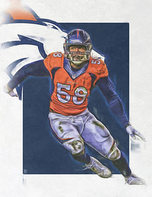 Football Mixed Media - Von Miller Denver Broncos Oil Art by Joe Hamilton