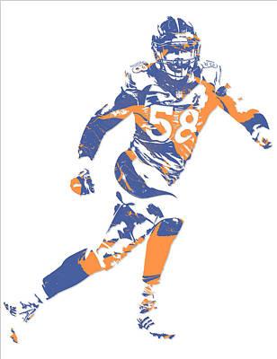 Football Mixed Media - Von Miller Denver Broncos Pixel Art 11 by Joe Hamilton