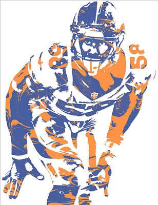 Von Miller Denver Broncos Pixel Art 12 Art Print