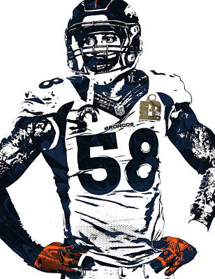 Field Art Mixed Media - Von Miller Denver Broncos Pixel Art 2 by Joe Hamilton