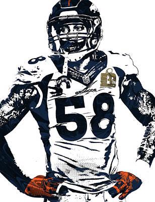 Von Miller Denver Broncos Pixel Art 2 Art Print