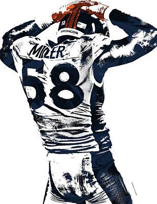 Von Miller Denver Broncos Pixel Art 4 Art Print