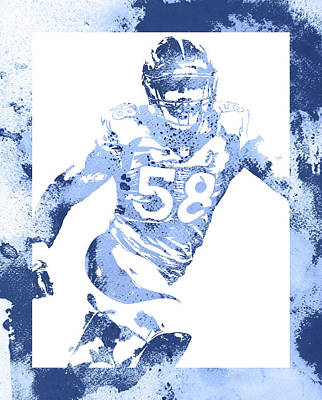 Mixed Media - Von Miller Denver Broncos Water Color Art 2 by Joe Hamilton