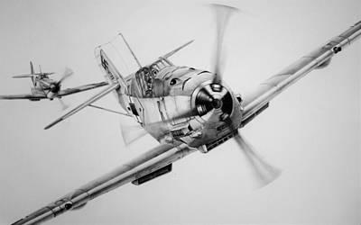Raf Drawing - Von Werra by James Baldwin Aviation Art