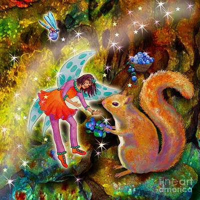Blueberry Mixed Media - Vonita Twinkle With Forest Friends by Teresa Ascone