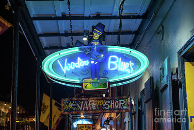 Neon Signs Photograph - Voodoo Blues Neon Sign by Tod and Cynthia Grubbs