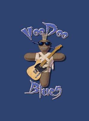 Digital Art - Voodoo Blues T Shirt by WB Johnston