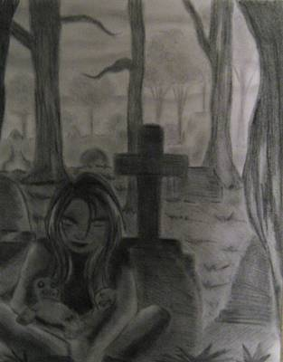 Cemetary Drawing - Voodoo by Dafna Brown
