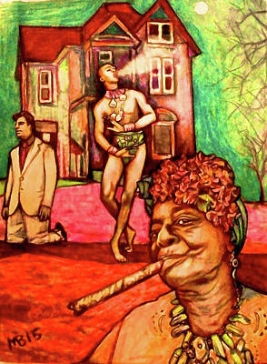 Drawing - Voodoo Queen And The Straight Guy by Michael Bish