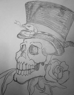 Drawing - Voodoo Skull by Yshua The Painter