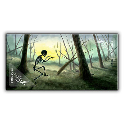 Spooky Painting - Vorspiel The Creeping Skeleton by Annie Dunn