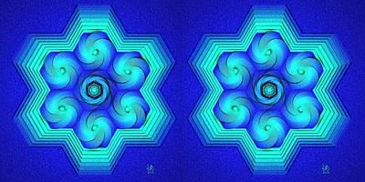 Icosahedron Digital Art - Vort-hex Stereogram by David Voutsinas