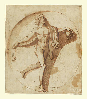 Landscapes Drawings - Votary of Bacchus by Nicolas Poussin by Esoterica Art Agency