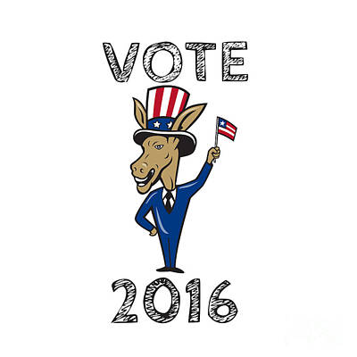 Digital Art - Vote 2016 Democrat Donkey Mascot Flag Cartoon by Aloysius Patrimonio