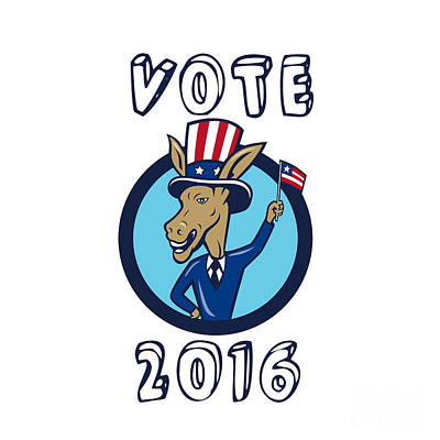 Digital Art - Vote 2016 Democrat Donkey Mascot Flag Circle Cartoon by Aloysius Patrimonio