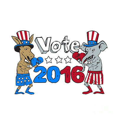 Digital Art - Vote 2016 Donkey Boxer And Elephant Mascot Cartoon by Aloysius Patrimonio