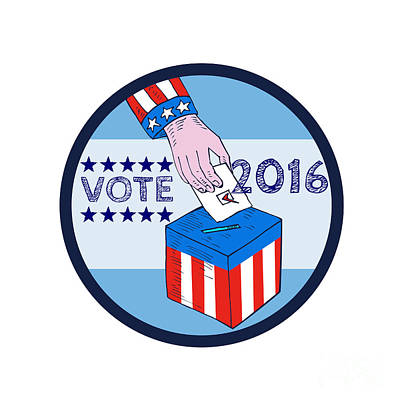 Vote 2016 Hand Ballot Box Circle Etching Art Print by Aloysius Patrimonio