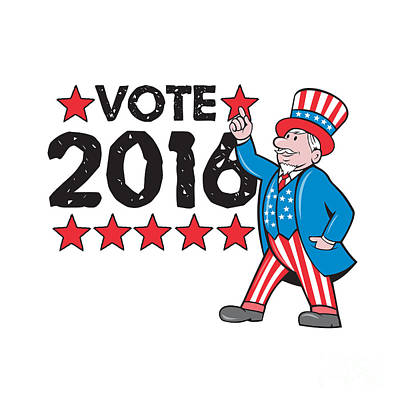 Digital Art - Vote 2016 Uncle Sam Hand Pointing Up Retro by Aloysius Patrimonio