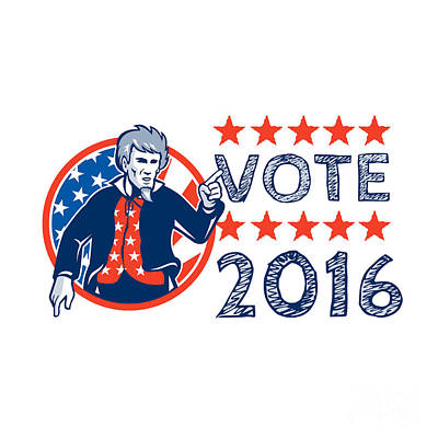 Digital Art - Vote 2016 Uncle Sam Pointing Circle Retro by Aloysius Patrimonio